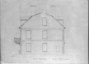 Measured east elevation of the John Hancock House, Boston, Mass., ca. 1863