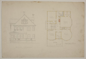 Front elevation and second floor plan for single-family dwelling, undated