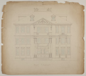 Front elevation of a three-and-a-half story multi-family dwelling, undated