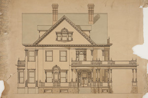 Front elevation of single-family dwelling with carriage portico, undated