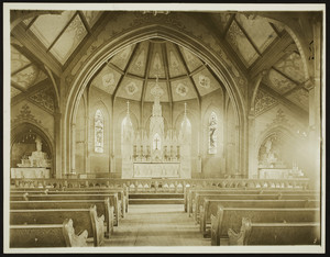Interior view of the St. Agnes Church, altars, Arlington, Mass., undated