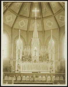 Interior view of the St. Agnes Church, main altar, Arlington, Mass., undated