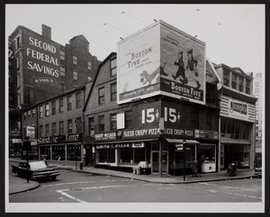 Exterior view of the Old Corner Bookstore before restoration, Washington Street and School Street, Boston, Mass., 1960s