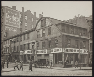 Exterior view of the Old Corner Bookstore, Washington Street, Boston, Mass., 1885-1890