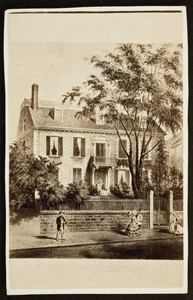 Carte-de-visite illustration of the John Hancock House, ca. 1862