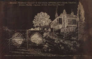 Bridge, Mermaid Tavern & Bankside Approach to Globe Theatre, Shakespeare Village in the Boston Fens, 1916