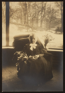 Full-length portrait of Mary Perkins Olmsted, seated on a chair, facing front, location unknown, undated