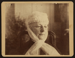Head-and-shoulders portrait of Mary Perkins Olmsted, facing front, facing slightly right, location unknown, 1890