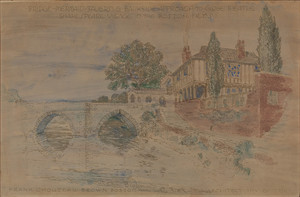 Handcolored print of Bridge, Mermaid Tavern & Bankside Approach to Globe Theatre, Shakespeare Village in the Boston Fens, 1916