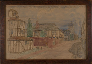 Handcolored print of View Across Main Street, Shakespeare Memorial Village, Boston, Mass., 1916