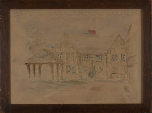 Handcolored print of Shakespeare Village Green & Recreation House, Portion of Proposed Recreation Center in the Fens, 1916