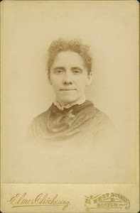Head-and-shoulders portrait of Sarah Putnam Fowler, facing front, Elmer Chickering, 21 West Street, Boston, Mass., undated