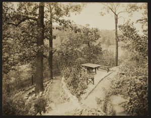 Exterior view of the Dreier House, terrace and path to lower garden, Winchester, Mass., undated