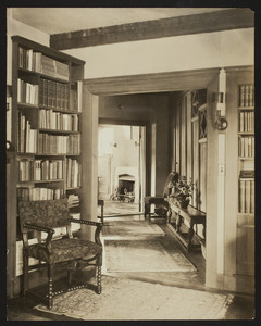 Interior view of the Dreier House, living room, looking toward hall and study, Winchester, Mass., undated