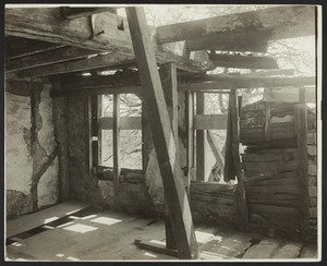 Interior view of the Browne House, south wall of the second floor chamber, Watertown, Mass., May 21, 1919