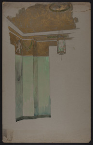 Perspective on interior decorative scheme, corner detail, unsigned, undated
