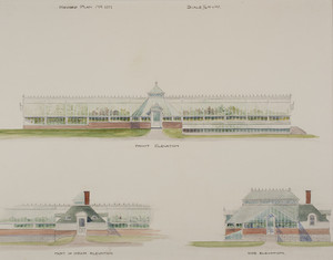 Front, side and part of rear elevations for greenhouses, unsigned, undated