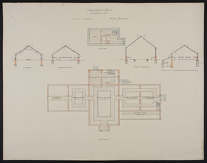 Overall first floor and cellar plans, and sections of vinery, greenhouse, palm house, rose and carnations houses, and violet pit, unsigned, undated