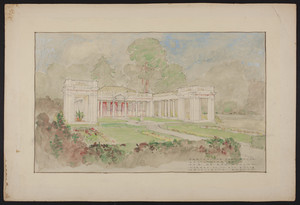 Sketch for playhouse and colonnades for Mr. Edwin Ginn, undated