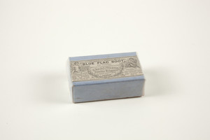 Box for blue flac root, B.O. & G.C. Wilson, wholesale botanic druggists, Merchants' Row, Boston, Mass., undated
