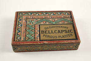 Box for Dr. Grosvenor's Bellcapsic Porous Plaster, J.M. Grosvenor & Co., manufacturer, 148 Pearl Street, Boston, Mass., undated