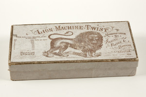 Box for Lion Machine Twist thread, manufactured by Seavey, Foster & Bowman, Boston, New York and Chicago, undated