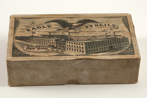 Box for Eagle Pencils, Eagle Pencil Company's Works, office & salesroom, 377 & 379 Broadway, New York, New York, undated