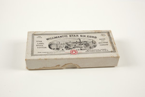 Box for Willimantic Star Six Cord Spool Cotton thread, The American Thread Company, Willimantic, Connecticut and Holyoke, Mass., undated