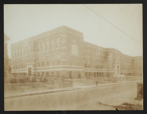 Exterior view of Grover Cleveland Junior High School, Charles Street, Dorchester, Mass., undated
