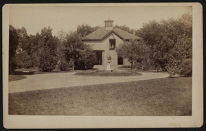 Exterior view of the stable on the Elisha Dillingham Bangs Estate on Central Street, entrance to Rangeley, Winchester, Mass., 1889