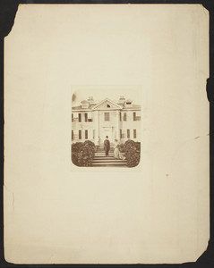 Full-length double portrait of Henry Wadsworth Longfellow and his daughter Edith Longfellow Dana, standing in front of his house, Brattle Street, Cambridge, Mass., undated