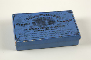 Box for Silk & Twist for Sewing Machines, manufactured by M. Heminway & Sons, Watertown, Connecticut, undated