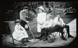 Group portrait of five unidentified children, Manchester, Mass., 1889