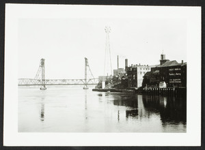 View of the river front and the Memorial Bridge, Portsmouth, New Hampshire, August 1936