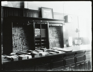 Interior view of City Ticket Office, Main Street, Worcester, Mass., undated