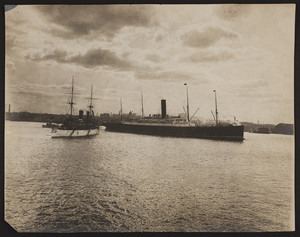 View of U.S.S. Olympia and S.S. Ivernia, Boston Harbor, Boston, Mass., undated