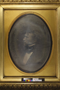 Head-and-shoulders portrait of Franklin Pierce, facing left, location unknown, ca. 1860