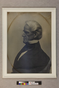 Head-and-shoulders portrait of Horace Mann, facing left, location unknown, ca. 1853