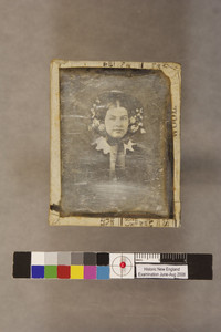 Head-and-shoulders portrait of Annie Brace Stevenson, facing front, location unknown, ca. 1860