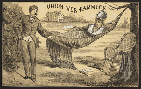 Trade card for the Union Web Hammock, Horace Partridge & Co., sole agents, 51-57 Hanover Street, Boston, Mass., ca. 1875