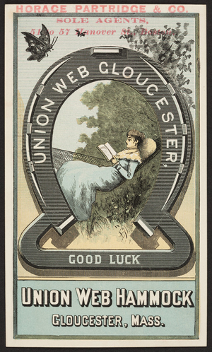 Trade card for the Union Web Hammock, Gloucester, Mass., ca. 1875