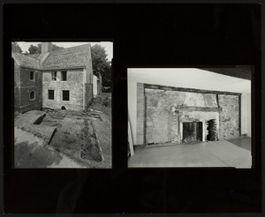 Exterior and interior views of the Spencer-Peirce-Little Farm House, excavation and north wall fireplace, Newbury, Mass., August 3, 1992