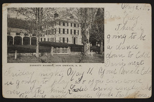 Barrett Mansion, New Ipswich, New Hampshire, dated May 8, 1906