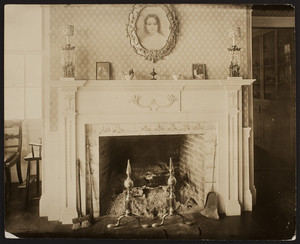 Interior view of Lyman Estate House, dining room fireplace, Waltham, Mass., undated