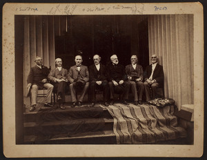 Group portrait of seven men, seated, facing front, on the porch, Roseland Cottage, Woodstock, Connecticut, 1892