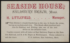 Trade card for the Seaside House, Salisbury Beach, Mass., undated