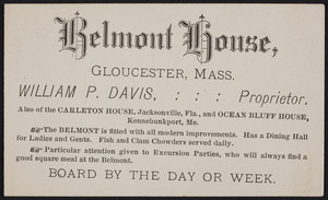 Trade card for the Belmont House, Gloucester, Mass., undated