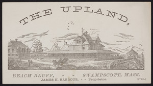 Trade card for The Upland, Beach Bluff, Swampscott, Mass., 1880