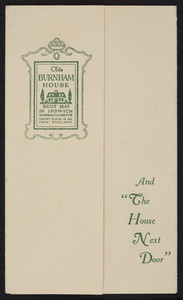 Brochure for The Olde Burnham House and The House Next Door, Linebrook Road, Ipswich, Mass., undated