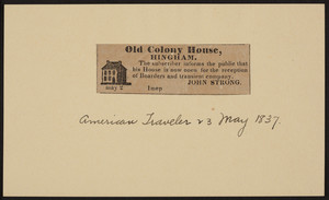 Advertisement for the Old Colony House, Hingham, Mass., dated 23 May 1837